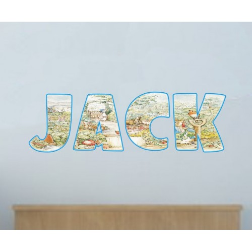 peter rabbit personalised name wall art sticker